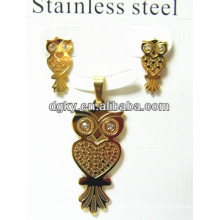 Stainless Steel Earring Pendant Set Owl Gold Jewelry Set