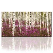 Impressão da arte da lona da floresta / retrato da árvore na lona / impressão da pintura da lona da paisagem