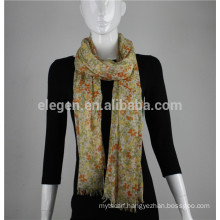100%polyester floral flower printing scarf with tassel