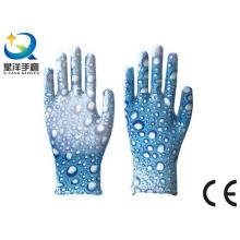 Gartenhandschuhe, Druck Polyestershell Transparente Nitrilbeschichtete Glatte Oberfläche, Sicherheitsarbeit (N6048)