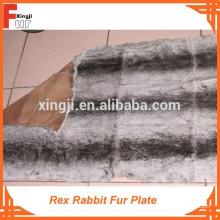 (Design de chinchila tingida com três tiras pretas) Rex Rabbit Fur Plate