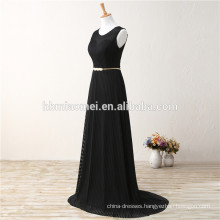 Ladies Black Ramie Chiffon Vertical Stripes Long Evening Dress Fish Cut