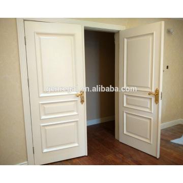 CE certifié charnière swing intérieur blanc double porte en bois
