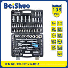 "108PCS CRV 1/4""&1/2"" Dr. Socket Set for Household"