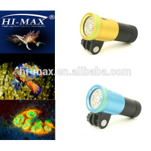Nice Diving products ! Wide beam angle 140 degree 2400lm with Red/UV LED photography diving flashlights