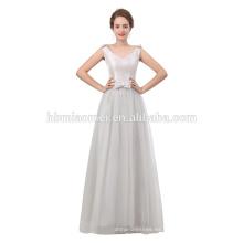 Vestidos de noche de color plata Vestidos largos Mujeres cuello redondo Longitud de piso con cuentas Satén 2018 Vestidos para ocasiones especiales para damas