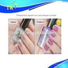 Pigmento fotocromático para unha polonês, mudança de cor sob a luz uv / luz solar