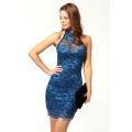 Robes de style décontracté doux d'été Halter Sleevess Design Femmes Party Dress