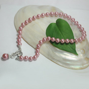 Single Pearl Pendant Fake Pink Pearl Necklace