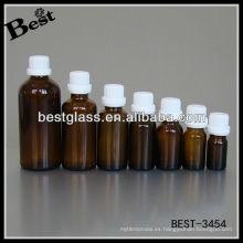 Botella de aceite esencial marrón de 20 ml; botella de aceite esencial marrón de 20 ml con tapón de seguridad de plástico blanco, botella de aceite esencial de vidrio de 20 ml