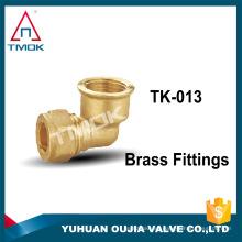 """El cable de soldadura de NPT tubo sin plomo roscado de latón color 3/8 """"accesorios de tubo de aluminio conector de codo"""