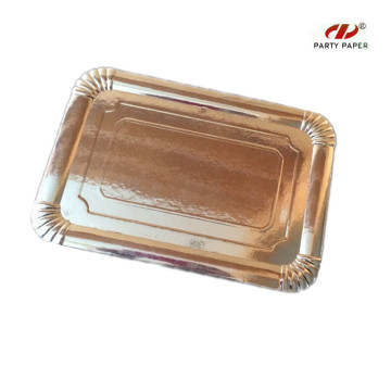 28x21cm Disposable Rectangular Silver Paper Tray