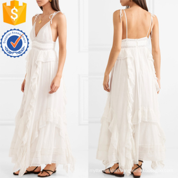 Latest Design 2019 White Lace Spaghetti Strap Cotton Maxi Dress Manufacture Wholesale Fashion Women Apparel (TA0274D)