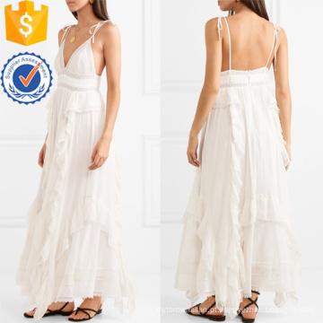 Mais recente Design 2019 Branco Lace Spaghetti Strap Algodão Maxi Vestido Fabricação Atacado Moda Feminina Vestuário (TA0274D)