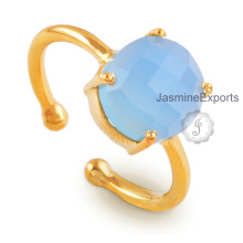 Blue Chalcedony Ring 925 Silver 18k Gold Chalcedony Gemstone Silver Ring Jewelry