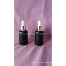 Botella de aceite esencial de vidrio de color negro de 30 ml (klc-8)