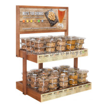Light Wood 2-Layer Packaged Dried Nuts Display, Counter Top Advertising Supermarket Nuts Display