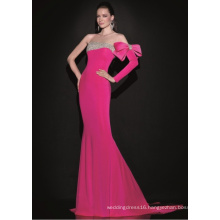 One Shoulder Beading Satin Mermaid Fuchsia Mermaid Evening Gown