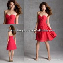 HB2036 Decote em coração com comprimento de chá Vestidos vermelhos de dama de honra baratos