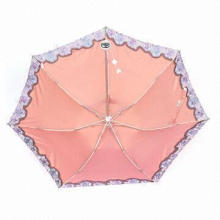 Lace Umbrella with Bag, 21-inch, 7-panel, Three-fold, Super-light
