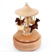 Caja de música personalizada de madera del carrusel de las muchachas del regalo de la manera de la marca de fábrica FQ