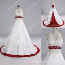 LS0120 High quality real sample white and red bridal dress pearl beading halter wedding dress stone embroidered wedding dress