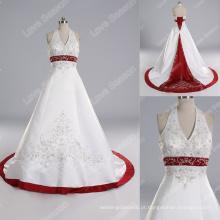 LS0120 Amostra real de alta qualidade branco e vermelho vestido de noiva pérola beading halter vestido de noiva vestido de casamento bordado de pedra