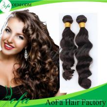 Trama brasileira natural não processada do cabelo humano de Remy do cabelo do Virgin de 100%