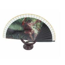 Ventilador da mão de bambu feito sob encomenda do papel da cor extravagante