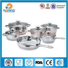 Set de utensilios de cocina de acero inoxidable 12 piezas con tapa de vidrio