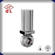 Wenzhou Pneumático aço inoxidável Ss316 válvula de borboleta sanitária