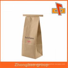 Nuevos productos calientes para 2015 stand up bolsa de papel marrón reciclado con lazo de estaño para el café