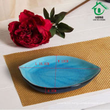 Blue leaf shape sushi slate plates