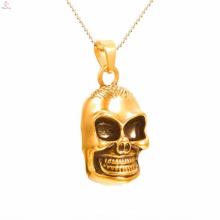 Colgantes chapados en oro del acero inoxidable del cráneo de la nueva llegada de la manera