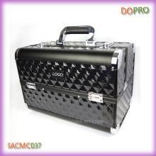 Caja de almacenamiento de maquillaje de ABS de diamante negro caja de gran tamaño de vanidad (sasc037)