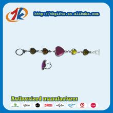 Beautiful Plastic Kids Heart Shape Bracelet with Ring Toy