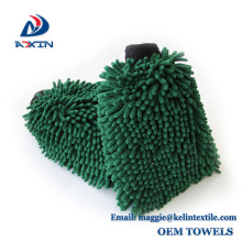 Green Multifunction Chenille Microfiber Dusting Mitt Car Wash And House Cleaning Gloves