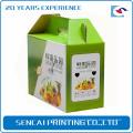 SenCai цветастое печатание гофрированной бумага подарочная коробка с ручкой для фруктов