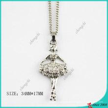 Cristales de moda Silver Tone Ballet Girl Necklace (PN)