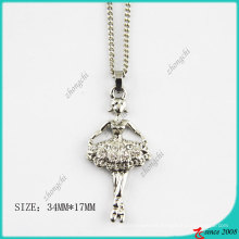 Fashion Crystals Silver Tone Ballet Girl Necklace (PN)