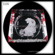 K9 Cendrier en cristal avec image gravée