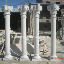 Белый мраморный камень скульптуры колонка для домашнего украшения (SY-C016)