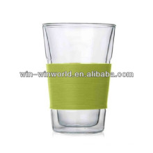 Wholesale Colored Pyrex 300ML Hot Double Wall Glass Cup With Silicone