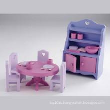 Дешевые играть Set Игрушка Необычные деревянные столовая игрушка с кабинета шкаф стол и стул