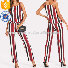 Striped Top And Zip Up Pants Set Manufacture Wholesale Fashion Women Apparel (TA4019SS)