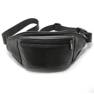 Unisex+Black+Pu+leather+Fanny+Pack+Waist+Bag