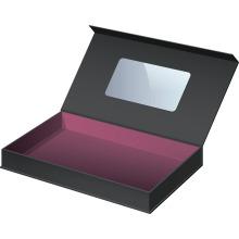 Caja de embalaje de gama alta de cierre magnético con manija y ventana transparente