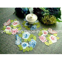 Rose Design Doily Pink Blue Yellow Color St1771