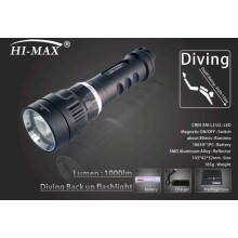 Hi-max diving samll u2led narrow beam 7degree angle 1000lm backup diving light