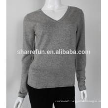 Sharrefun classical style v neck 12gg cashmere silk sweater